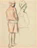 Karl Hubbuch, Two Studies of the Back View of a Standing Woman
