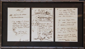 Artwork by Winslow Homer, 3 WORKS: LETTER & DRAWING IN FRAME, Made of leaf