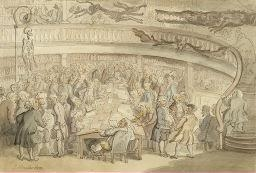 Artwork by Thomas Rowlandson, A CONVERSATION AT THE OLD SURGEONS HALL, OLD BAILEY, LONDON, Made of pen and ink and watercolor on paper
