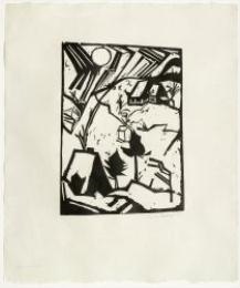 Artwork by Erich Heckel, Schneetreiben, Made of Woodcut