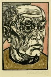 Artwork by Erich Heckel, Kopf, Made of Colour woodcut