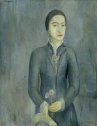 Artwork by Max Gubler, Woman standing with hat and flowers in her hands, Made of Oil on canvas