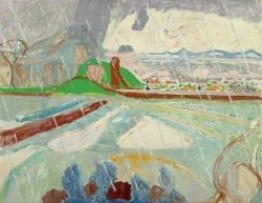 Artwork by Max Gubler, Landscape the rain, Made of Oil on canvas