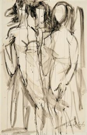 Artwork by Anton Räderscheidt, Untitled (Drei Frauen), Made of India ink brush drawing on card