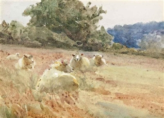 4 works: Sheep grazing By Mildred Anne Butler