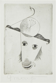 Artwork by Georg Muche, Animal Head, Made of etching