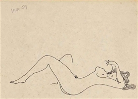 Artwork by Man Ray, Couple entrelacé: Nu féminin (recto); Nu masculin (verso), Made of pen and ink on paper