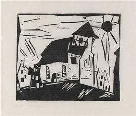 Artwork by Lyonel Feininger, Vollersroda (Kirche in Vollersroda), Made of Woodcut
