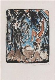Artwork by Erich Heckel, Handstand, Made of Lithograph