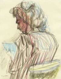 Artwork by Max Gubler, Woman reading, Made of coloured crayon on paper