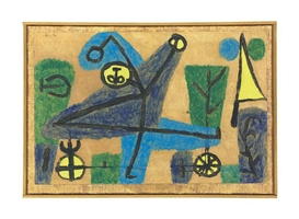 Artwork by Paul Klee, Blauer Tänzer, Made of gouache and coloured paste on brown paper laid down by the artist on prepared burlap