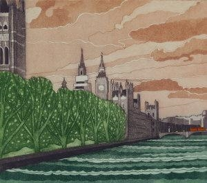 4 Works: Houses of Parliament; Tower Bridge; Tower of London; Hampton Court from the River By John Brunsdon