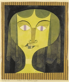 Artwork by Paul Klee, Bildnis einer Veilchenäugigen (Portrait of a violet-eyed woman), Made of watercolour and brush and ink over pencil on paper laid down on tissue paper