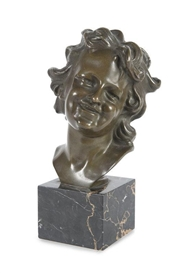 Artwork by Jean-Baptiste Carpeaux, Buste d'enfant, Made of Antique style bronze with green patina on a black marble base
