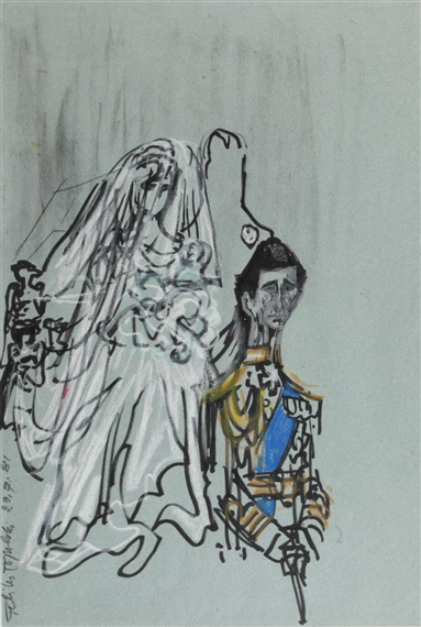 Artwork by Felix Topolski, 4 works: The Royal Wedding of Prince Charles and Lady Diana, Made of felt pen and oil pastel