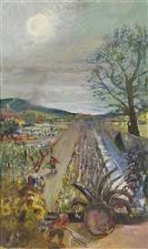 Artwork by Oskar Laske, Gemüsegarten Puchberg, Made of Oil on canvas