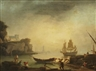 Johan Sevenbom, Italiensk hamnvy med figurer