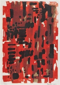 Artwork by Patrick Heron, Red Garden, Made of lithograph printed in colours