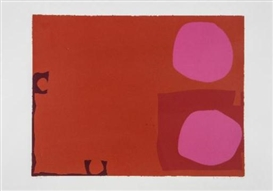 Artwork by Patrick Heron, Two Pink Discs in Dark Reds, Made of screenprint in colours