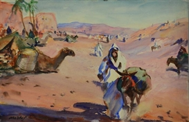 Artwork by John Whorf, THE HILLS OF DJEBILET, OUTSIDE MARRAKECH, Made of watercolor