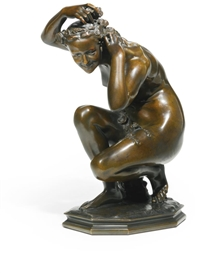 Artwork by Jean-Baptiste Carpeaux, FLORA CROUCHING, Made of bronze, mid-brown patina