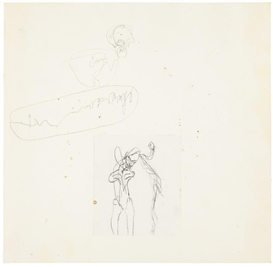 Artwork by Joseph Beuys, DER TOD UND DAS MÄDCHEN, Made of pencil and paper collage on paper