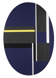 Artwork by Ilya Bolotowsky, ELLIPSE WITH BLACKS, BLUE AND YELLOW, Made of acrylic on canvas