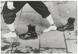 Artwork by Mona Hatoum, PERFORMANCE STILL, Made of black and white photograph mounted on aluminum
