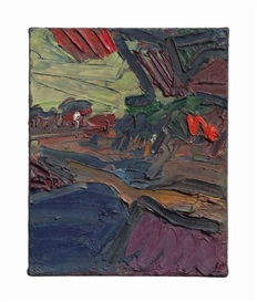 Artwork by Frank Auerbach, Primrose Hill Study - Autumn Evening, Made of oil on canvas