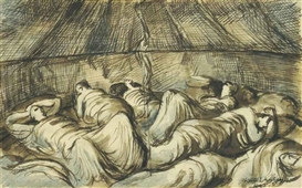Artwork by Keith Vaughan, Soldiers in a Bell Tent, Made of pencil, brown ink and wash