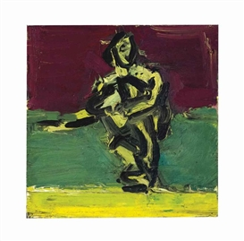 Artwork by Frank Auerbach, Sitting Figure, Made of oil on board