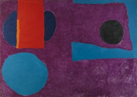 Artwork by Patrick Heron, BIG VIOLET WITH RED AND BLUE, Made of oil on canvas