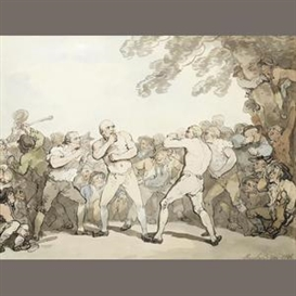 Thomas Rowlandson, A boxing match with a large crowd gathered