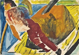 Artwork by David Bomberg, Bargee Man (recto); Portrait of Leo Koenig by Lilian Bomberg (verso), Made of pencil, watercolour, gouache, and ink