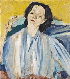 Artwork by David Bomberg, Portrait of Annie Lou Staveley, Made of oil on canvas, unframed