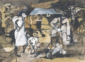 Artwork by Keith Vaughan, Figures in a garden, Made of ink, wash and gouache