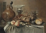 Pieter Claesz, Crabs and bread on pewter platters, peaches and other fruit in a porcelain bowl, a salt vessel, a jug, a roemer and a knife, on a draped table