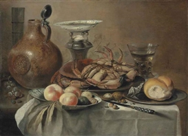 Artwork by Pieter Claesz, Crabs and bread on pewter platters, peaches and other fruit in a porcelain bowl, a salt vessel, a jug, a roemer and a knife, on a draped table, Made of oil on panel