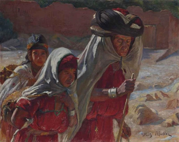 Muller fritz three women in the wadi of bou saada for Artiste peintre allemand