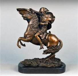 Artwork by Jean-Baptiste Carpeaux, Modeled from Jacques-Louis David's Napoleon Crossing the Alps, Made of Patinated Bronze, black marble base
