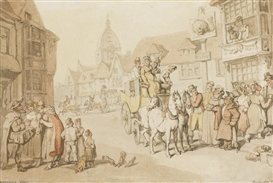 Thomas Rowlandson, The arrival of a coach at the Dolphin Inn, Greenwich
