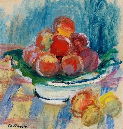 Artwork by Charles Camoin, PFIRSICHSTILLEBEN, Made of Oil on paper, on canvas