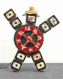 Artwork by Nam June Paik, I Ching 36, Made of wood, felt, acrylic, playing cards, dice, aluminium framework and nine Sony monitors