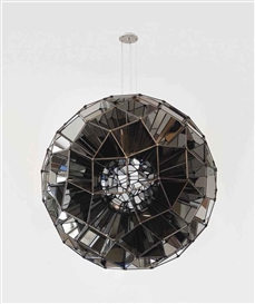 Artwork by Olafur Eliasson, Square Sphere, Made of stainless steel mirrors, bronzed brass