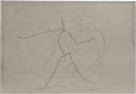 Artwork by Antony Gormley, Feeling Material XXXVI, Made of carbon and cassein on paper