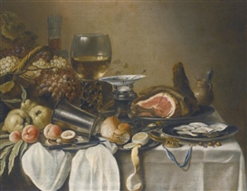 Artwork by Pieter Claesz, STILL LIFE WITH A HAM, VARIOUS FRUITS, OYSTERS, BREAD,..., Made of oil on canvas