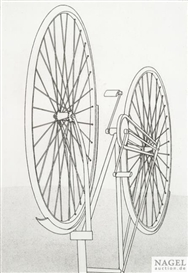 Artwork by Konrad Klapheck, Fahrrad I, Made of Etching