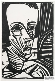Artwork by Erich Heckel, A.N., Made of Woodcut