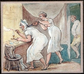 Artwork by Thomas Rowlandson, The Duenna Outwitted, Made of pen ink and watercolour