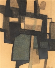 Artwork by Maurice Estève, Composition, Made of Watercolour and charcoal
